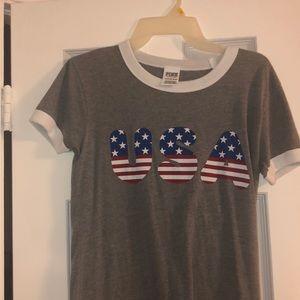 """Victoria Secret Pink """"USA"""" tee shirt"""